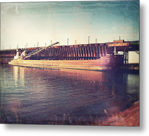 Iron Ore Freighter In Dock Metal Print