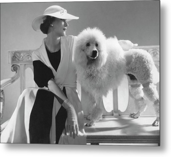 Isabel Johnson With A Poodle Metal Print by Edward Steichen