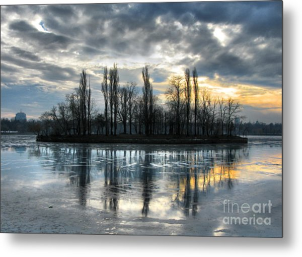 Island In Winter - Reflection Metal Print