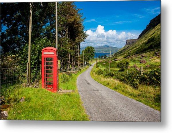 Traditonal British Telephone Box On The Isle Of Mull Metal Print