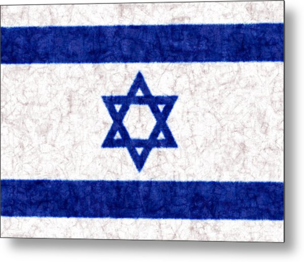 Israel Star Of David Flag Batik Metal Print