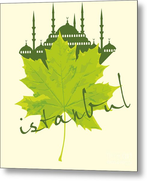 Istanbul City And Sycamore Leaf Vector Metal Print