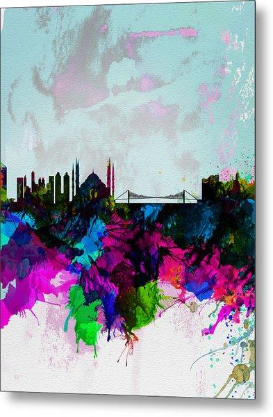 Istanbul Watercolor Skyline Metal Print