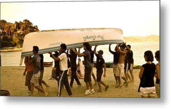 Italian Boys Loading Boat Metal Print