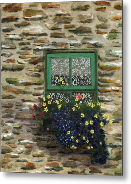 Italian Lace Window Box Metal Print by Cecilia Brendel