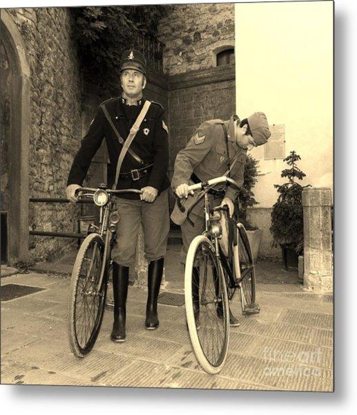 Italian Vintage Firemen Cyclists Metal Print