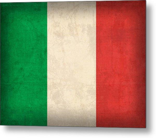 Italy Flag Vintage Distressed Finish Metal Print