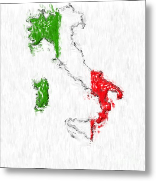 Italy Painted Flag Map Metal Print