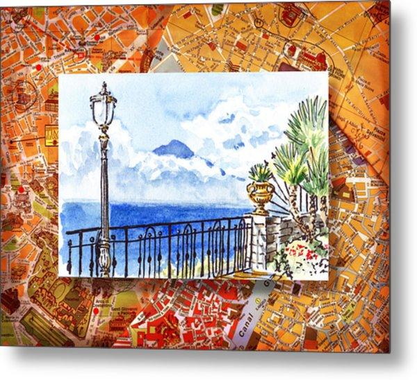 Italy Sketches Sorrento View On Volcano Vesuvius  Metal Print