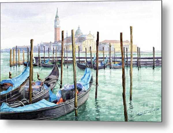 Italy Venice Gondolas Parked Metal Print