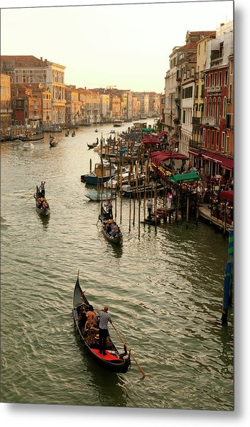 Italy, Venice The Bustling Riverfront Metal Print