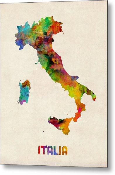 Italy Watercolor Map Italia Metal Print