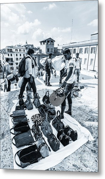 Itinerant Street Sellers Selling Fake Designer Goods Laid Out On Metal Print