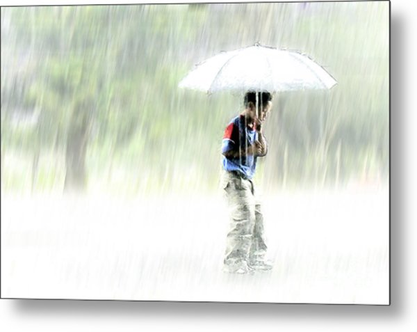 Metal Print featuring the photograph It's Raining Outside by Heiko Koehrer-Wagner