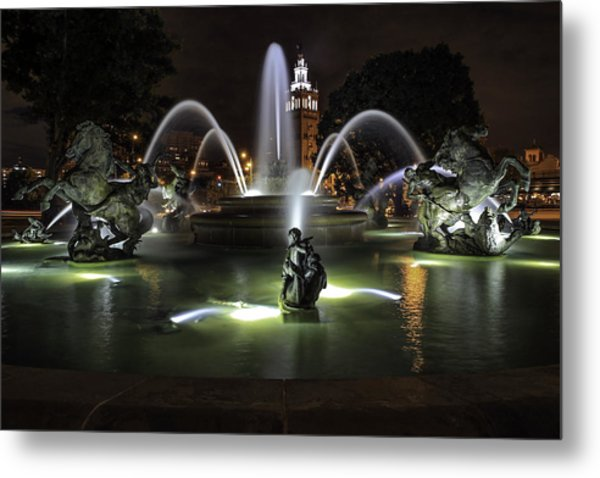 J C Nichols Fountain Metal Print