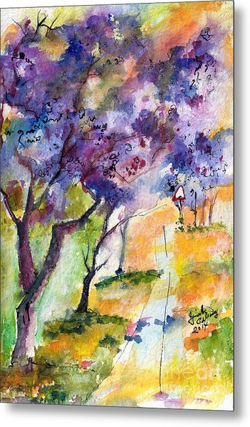 Jacaranda Trees Watercolor And Ink By Ginette Metal Print
