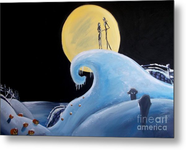 Jack And Sally Snowy Hill Metal Print