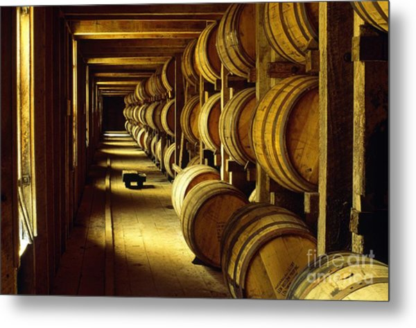 Jack Daniel Whiskey Maturing In Barrels In Old Warehouse At The Lynchburg Distillery Tennessee Usa Metal Print
