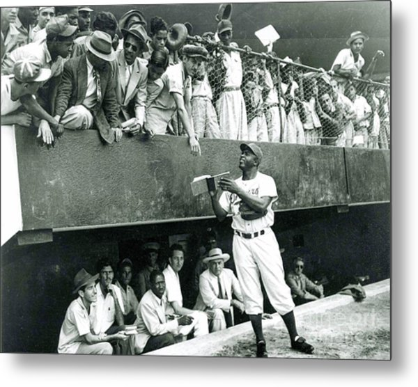 Jackie Robinson Signs Autographs Vintage Baseball Metal Print