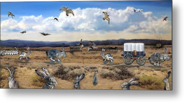 Jackrabbit Juxtaposition  At Owyhee View Metal Print
