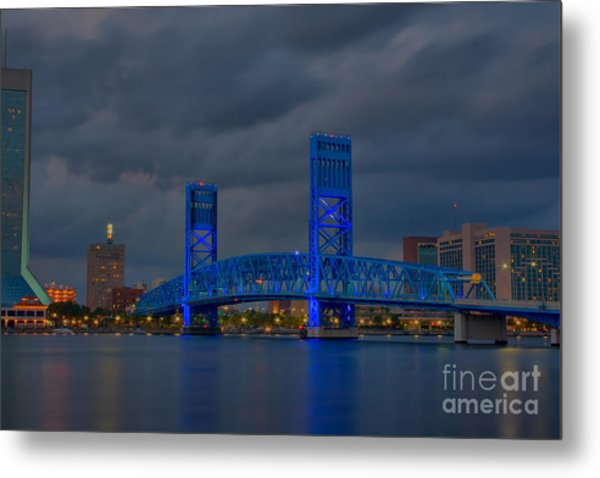 Jacksonville Blue Bridge Hdr Metal Print