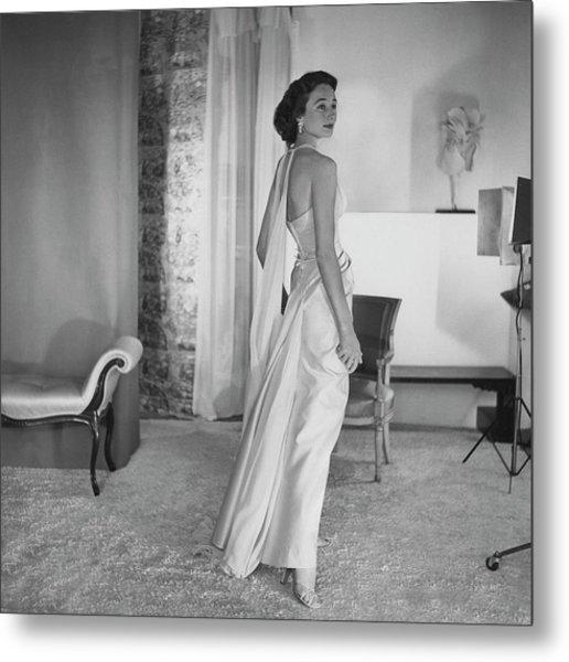 Jacqueline De Ribes Wearing A Desses Dress Metal Print by Horst P. Horst