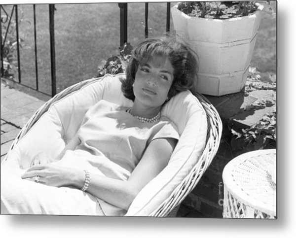 Jacqueline Kennedy Relaxing At Hyannis Port 1959. Metal Print
