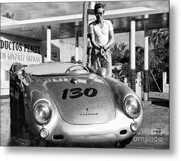 James Dean Filling His Spyder With Gas Black And White Metal Print