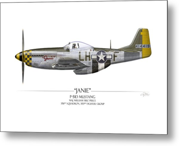 Janie P-51d Mustang - White Background Metal Print