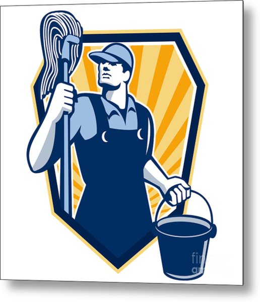 Janitor Cleaner Hold Mop Bucket Shield Retro Metal Print by Aloysius Patrimonio