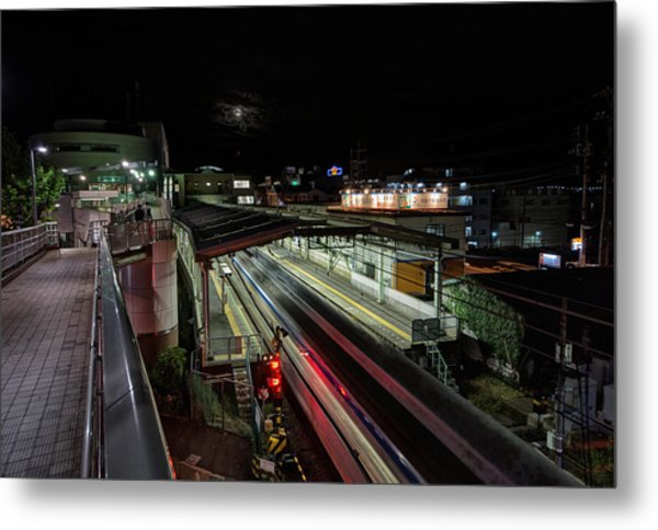 Japan Train Night Metal Print