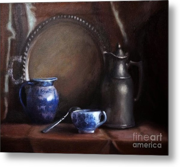 Japanese China And Pewter Metal Print