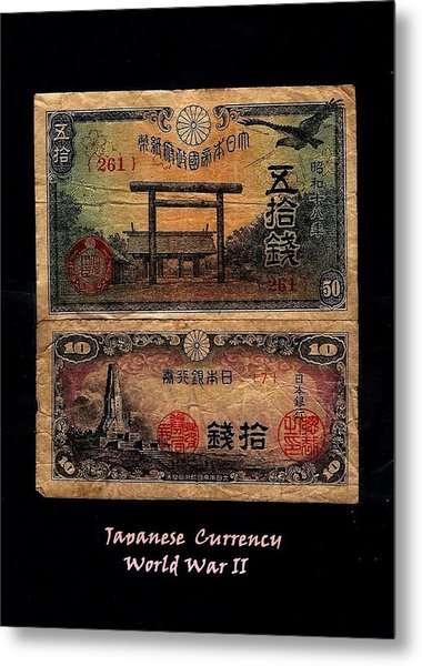 Japanese Currency From World War II Metal Print