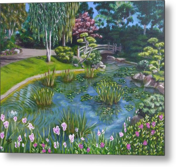 Metal Print featuring the painting Japanese Garden by Amelie Simmons