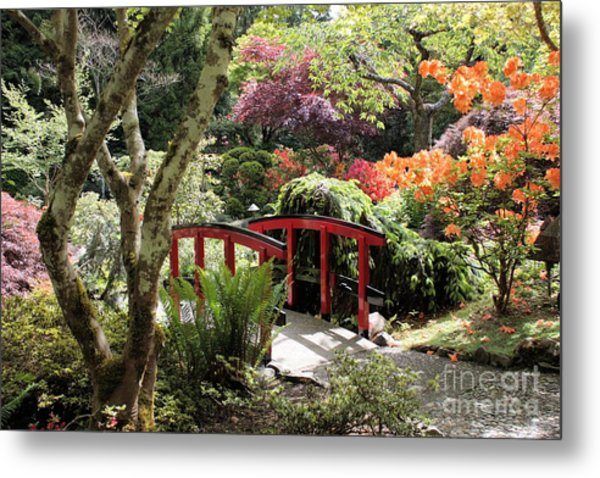 Japanese Garden Bridge With Rhododendrons Metal Print