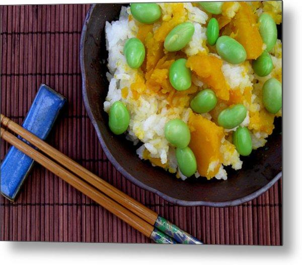 Japanese Kabocha Squash Rice With Edamame Metal Print by James Temple