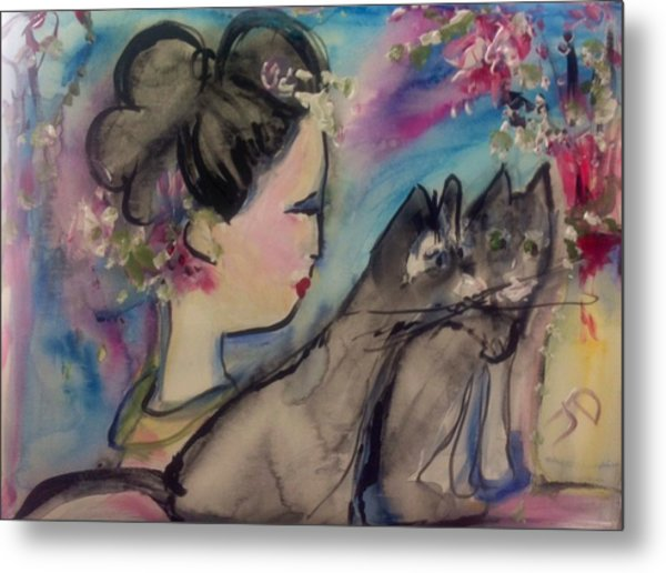 Japanese Lady And Felines Metal Print