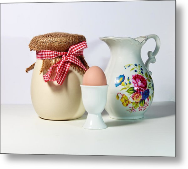 Jar And Egg Metal Print by Cecil Fuselier