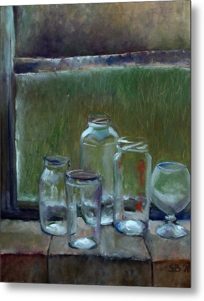 Jars On Summer Windowsil Metal Print