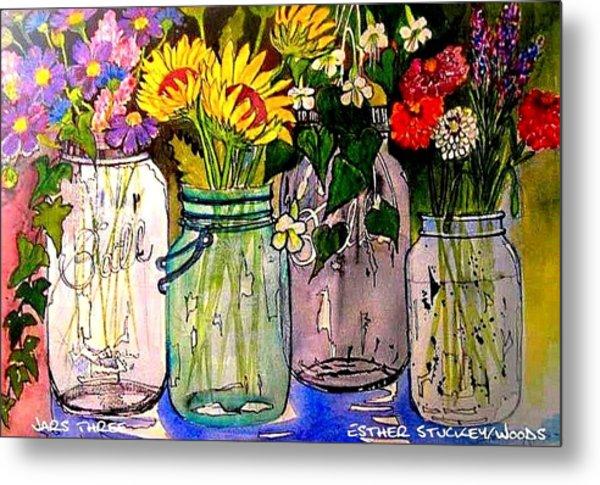 Jars Three Metal Print by Esther Woods