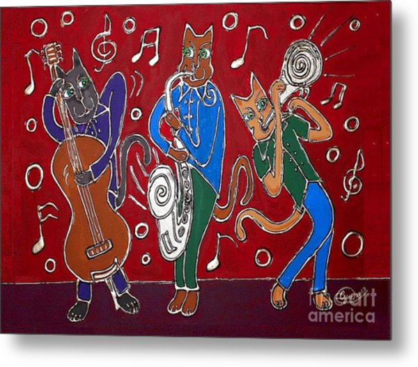 Jazz Cat Trio Metal Print