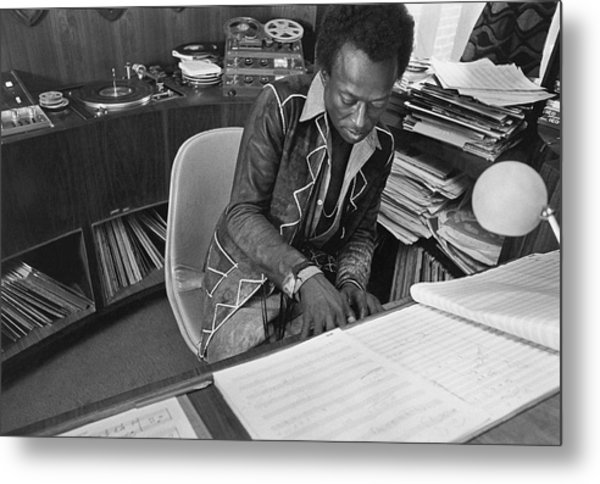 Jazz Musician Miles Davis Composing Metal Print by Mark Patiky