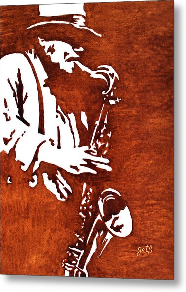 Jazz Saxofon Player Coffee Painting Metal Print