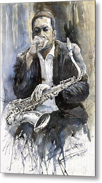 Jazz Saxophonist John Coltrane Yellow Metal Print