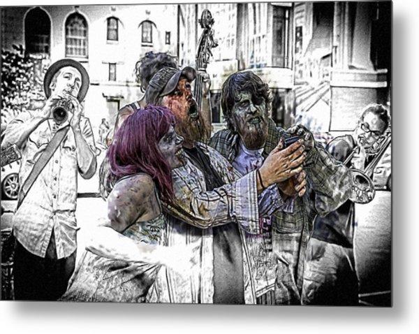 Jazzy Zombie Selfie Metal Print by John Haldane