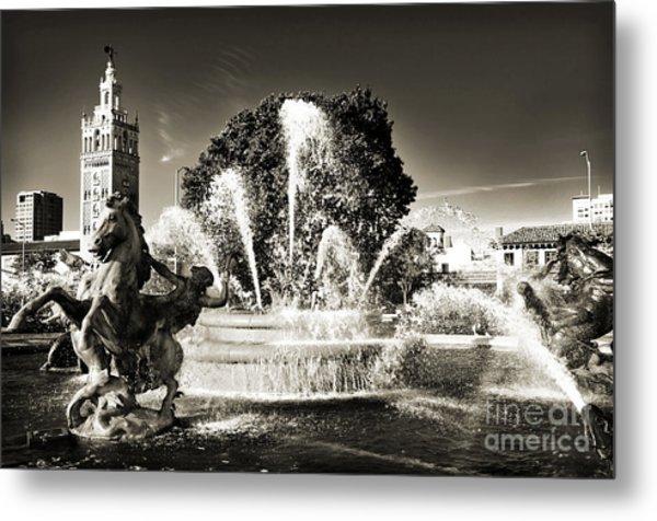 Jc Nichols Memorial Fountain Bw 1 Metal Print