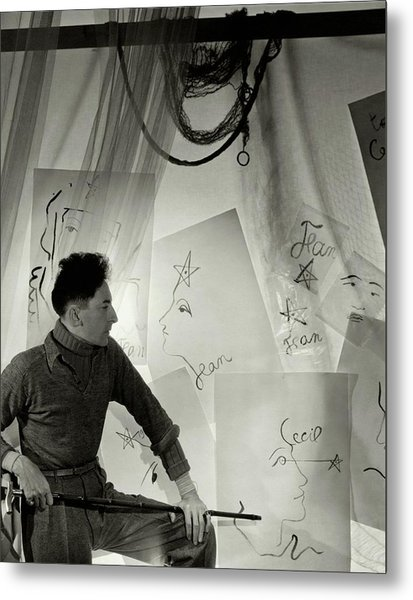Jean Cocteau With A Cane And Drawings Metal Print