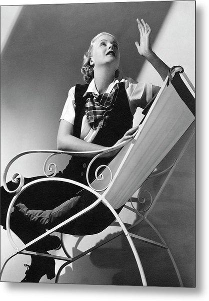 Jean Muir Sitting On A Chair Metal Print by Edward Steichen 6d198ba2d