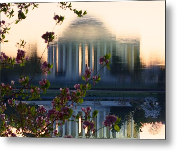 Jefferson Memorial Reflection With Cherry Blossoms Metal Print