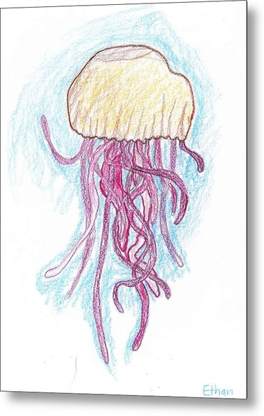 Jelly Fish Floating Metal Print by Ethan Chaupiz